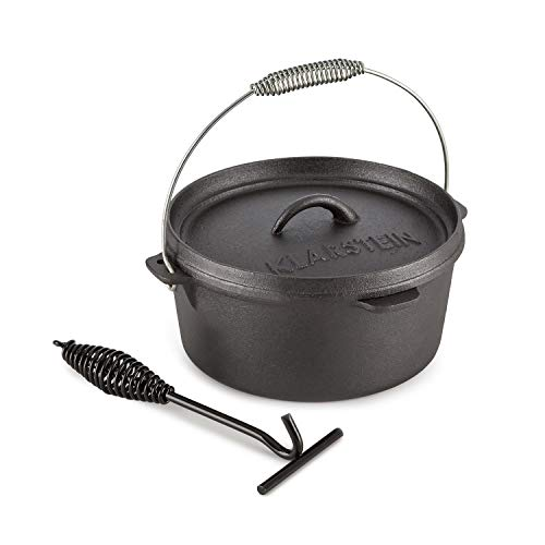 Klarstein Hotrod 85 - Dutch Oven, Gusstopf, BBQ-Topf, Volumen: 9 qt / 8,5 Liter, Kochen, Braten oder Backen, im offenen Feuer, auf dem Rost oder am Schwenkgrill, eingebrannt, schwarz