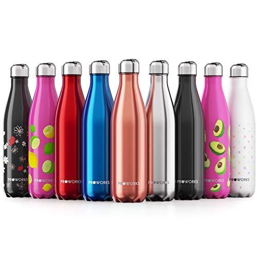 Proworks Edelstahl Trinkflasche | 24 Std. Kalt und 12 Std. Heiß - Premium Vakuum Wasserflasche - Perfekte Isolierflasche für Sport, Laufen, Fahrrad, Yoga, Wandern und Camping - 350ml - Kupfer