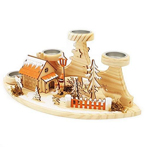 Wichtelstube-Kollektion Teelichthalter mit Räucherhaus Waldhütte Original