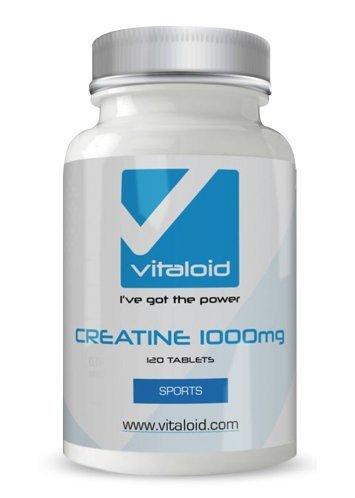 Vitaloid Creatine 1000mg – Amplificador de fuerza y masa muscular - 120 Comprimidos - La creatina ayuda a mejorar la resistencia, el rendimiento deportivo y recuperar del esfuerzo más rápido.