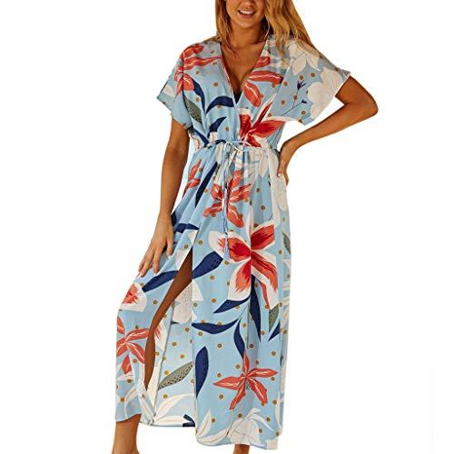 Cubierta de traje de baño de manga media para mujer Boho Geometric Print Beach Vestido Maxi Vestido Kaftan Ángulo de visión Ambiental Amigable Traje de baño para vacaciones de vacaciones Playa de vera