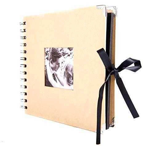 Smiling Art Fotoalbum 80 Seiten (40 Blatt) mit Fenster zum selbst gestalten/basteln, zum einkleben, DIY Scrapbook, Deckblatt aus Harter Pappe, Schwarze Seiten mit Zubehör Kit, quadratisch