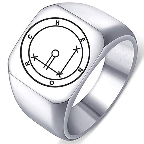 Engraved Silver Demons Symbol Sigils of Summoning Stainless Steel Chenor The Wish Granter Ring