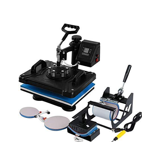 TC-Home 5 in 1 Combo Heat Press Machine Multifunction Sublimation 900w Digital Transfer Printer for T-Shirt Mug Plate Cap Hat