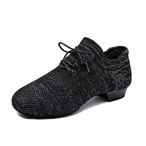 """Women Men Standard Practice Social Dance Sneaker Beginner Ballroom Dancing Shoes 1"""" Heel Black (US5.5 / EU35)"""