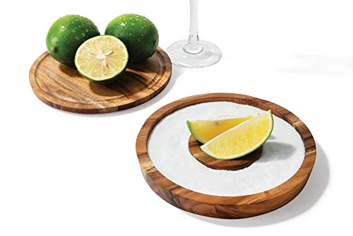 """Outset Acacia Wood Cocktail Rimmer, 6.25"""" Diameter"""