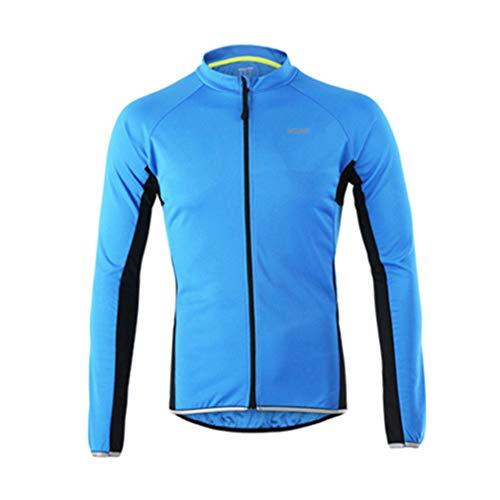 emansmoer Homme Respirante Outdoor Sport Veste de Cyclisme équitation Vélo Jersey Manches Longues Élastique Slim Tops (XXX-Large, Bleu)