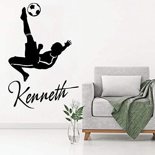 hetingyue Benutzerdefinierte Wandtattoo Benutzerdefinierten Namen Kunst Fußball Spieler Vinyl Aufkleber entfernbare Tapete Poster 104x156cm