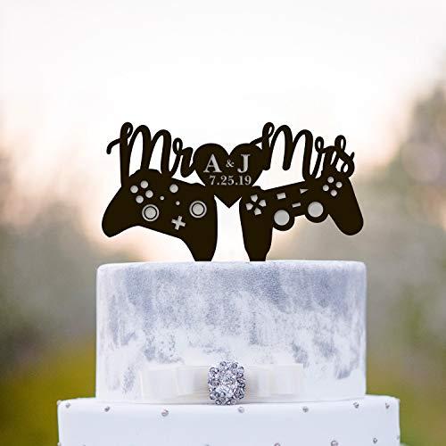 Gamer Wedding Cake Topper Gamers Wedding Cake Topper Video Game Wedding Cake Topper Initial Cake Topper Playstation Cake Topper A232