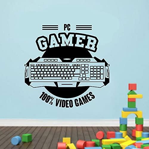 Game Zone PC Gamer Controlador de teclado 100% Videojuego Logo Etiqueta de la pared Calcomanía de vinilo Dormitorio de niño Sala de juegos Sala de juegos Club Studio Decoración para el hogar Mura