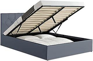 IDMarket - Lit Coffre Austin PVC Gris avec sommier 140 x 190 CM