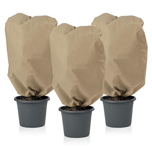 PRIMA GARDEN Pflanzen Schutzhaube Vlies | Sehr Dickes Material | 2 Kordelzüge | Frostschutz und Winterschutz für Kübelpflanzen (M, Beige)