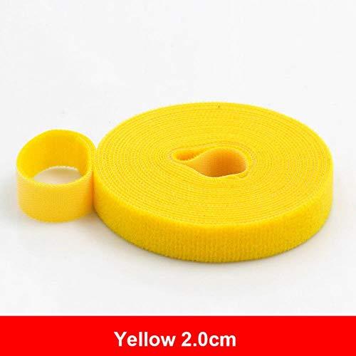 5 meter herbruikbare klittenband kleefband Sterke haken en lussen Kabelbinders Gordijn Nylon sluiting, 2,0 cm geel
