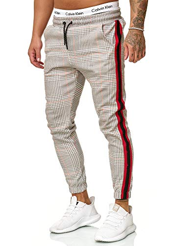 OneRedox Herren | Jogginghose | Trainingshose | Sport Fitness | Gym | Training | Slim Fit | Sweatpants Streifen | Jogging-Hose | Stripe Pants | Modell 1226 (L, Grau Rot)