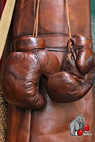 BOXEN PUNKTRASTER NOTIZBUCH: 6x9 Zoll (ähnlich A5 Format) Merkbuch mit cremefarbenen Seiten und klassischen Boxhandschuhen und Leder - Boxsack Cover tolle Geschenkidee für Männer Frauen Kinder