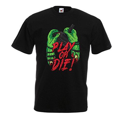 lepni.me Camisetas Hombre ¡Juegue o muera - Solamente para Jugadores ! (Small Negro Multicolor)