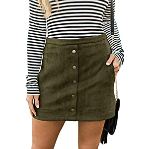 Women's  Faux Suede High Waist A-line Mini Skirt