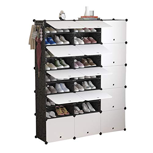 Jklt Práctico zapatero portátil para almacenamiento de zapatos, armario modular que ahorra espacio para armario o dormitorio, fácil de usar (color: negro, tamaño: 126 x 31 x 127 cm)