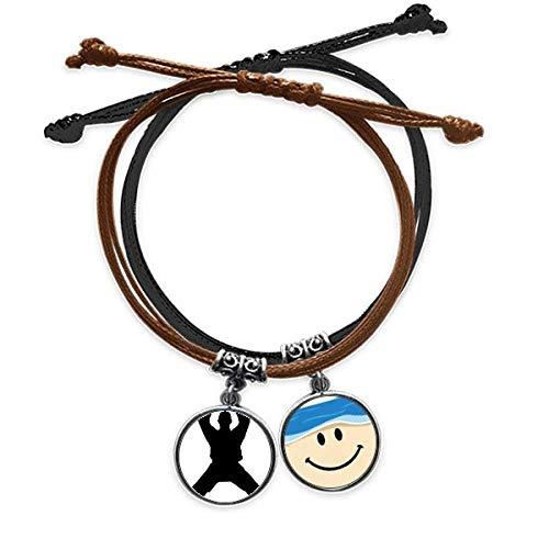 Bestchong China Chino Shaolin Kung Fu Culture Pulsera de la cuerda de la mano de la cadena de cuero sonriente de la cara pulsera