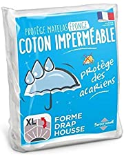 Sweethome   Protège Matelas Imperméable - 140x190/200 cm - Bouclette 100% Coton - Anti Acariens - Souple et Silencieux - Forme Drap Housse - Lavable en Machine