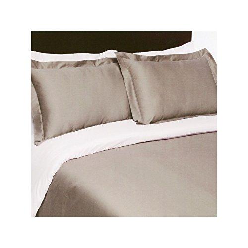 Drap House Housse de Couette Satin 220x240 - Couleur: Taupe-Blanc
