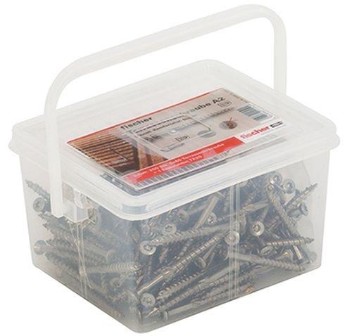 fischer Box Terrassenschrauben - FTS-ST 5,0 x 60 A2P mit Senkkopf und Teilgewinde - Zum Verschrauben von Terrassenbeplankungen auf Holz-Unterkonstruktionen, nicht rostender Stahl - 200 Stück - Art.-Nr. 660613