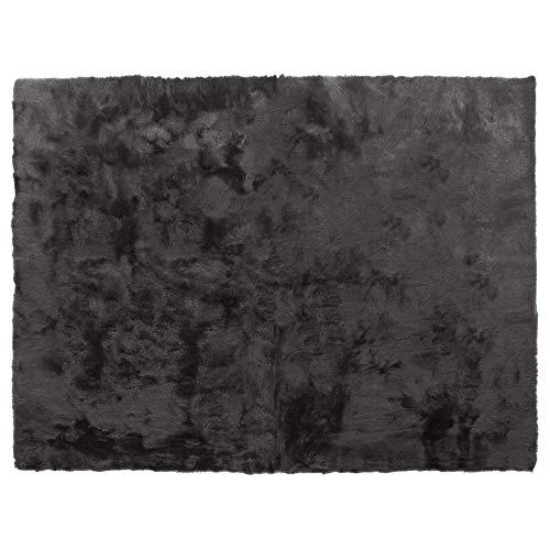 Pilepoil TAP-R1-L-ES - Alfombra Rectangular de Piel sintética, 140 x 200 cm, 100% fabricación Francesa, Ideal para habitación Infantil, salón, decoración, Color Gris Oscuro