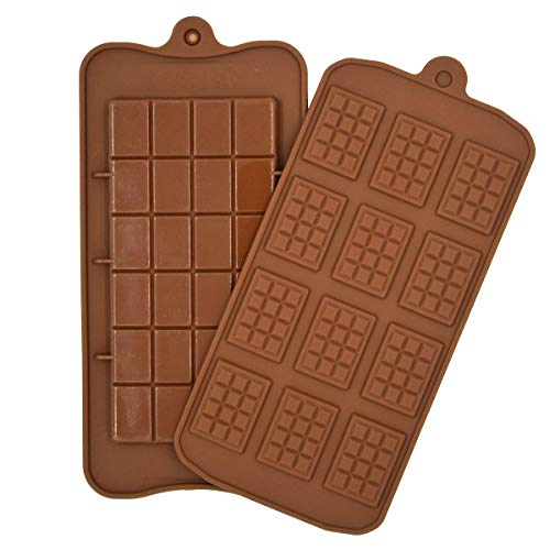 PJY Non-Stick 12 Cavity Silicone Chocolate Molds - 3D Home DIY Mini Rectangle Waffle Candy