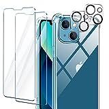 AROYI Cover Compatibile con iPhone 13 Mini, 2 Pezzi Vetro Temperato e 2 Pezzi Pellicola Fotocamera, Cover Protettiva Antiurto Morbida e in Silicone, Trasparente