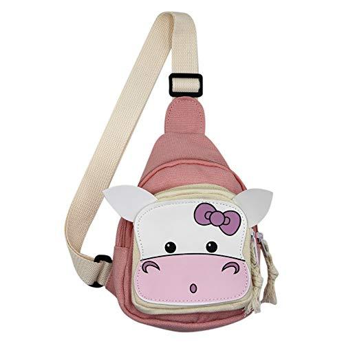 Cuddty Bolsa cruzada de lona al aire libre para adolescentes, niños y niñas, mochila de viaje, bonita vaca buey toro