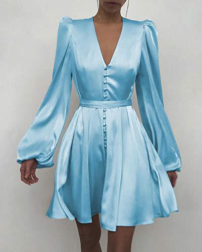 Vestidos De Fiesta Vestir Dress Mujer Niña Vestido Liso con Botones con Volantes Y Mangas Abullonadas Vestido De Trabajo Informal Elegante para Mujer Elegante-Blue_M