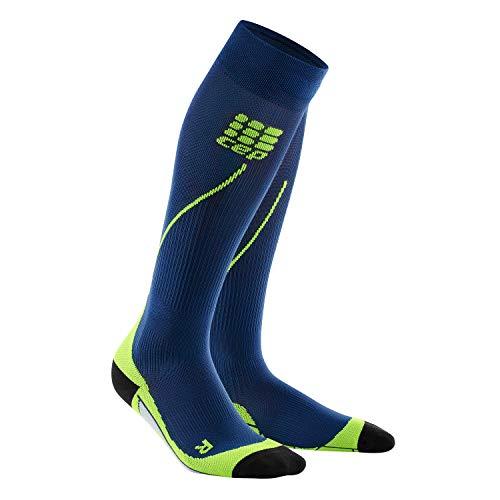 CEP – Run Socks 2.0 für Herren | Lange Laufsocken mit Kompressionswirkung in blau/grün | Größe V