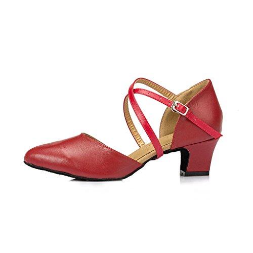 Meijili ,  Damen Tanzschuhe , rot – rot – Größe: 40 - 2