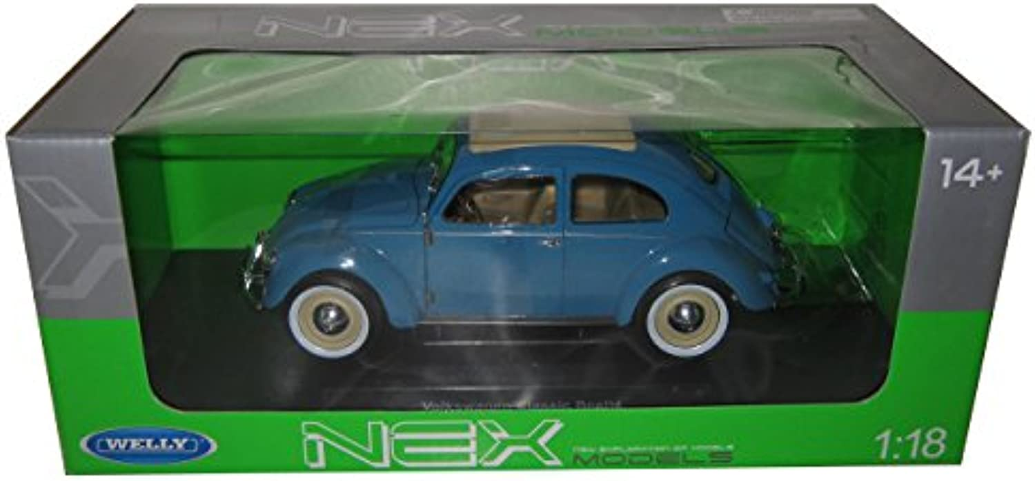 Welly 18040BL 1 by 18 Scale Diecast 1950 Volkswagen Classic Old Beetle Split Window bluee Model Car