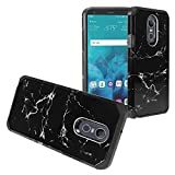 Z-GEN - for LG Stylo 4 (2018), Stylo4+ Plus, LM-Q710, LM-L713DL - Hybrid Image Phone Case + Tempered Glass Screen Protector - AD1 Black Marble