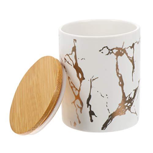 BESTonZON Vorratsdose Keramik mit Deckel Teedose Kaffeedose Keksdose Marmor Muster Kaffee Tee Süßigkeiten Gewürze Kräuter Lebensmittel Aufbewahrungsdose Dichtung Küche Behälter Weiß