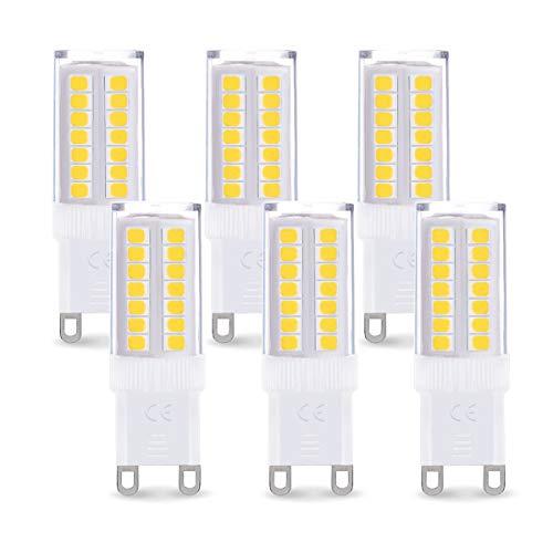 Fulighture G9 LED Lampe,G9 LED Leuchtmittel,5W Ersatz 40W Halogenlampen,6000k Kaltweiß,400 lumens,360° Abstrahlwinkel, Nicht Dimmbar,G9 Led Birne Mit Keramic und ACRYLIC Material, 6er Pack