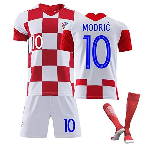 Croatia 20-21 Men's Soccer Jerseys Home and Away T-Shirt Set, Croatia Team Soccer Fans Football Jersey, Mens Short Fans Loungewear Gifts,Modric 10 Home,22