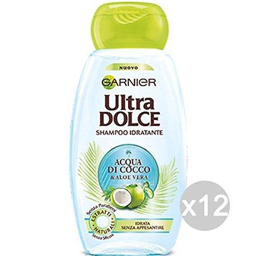 GARNIER - Juego de 12 champús de agua de coco para el cuidado y el tratamiento del cabello