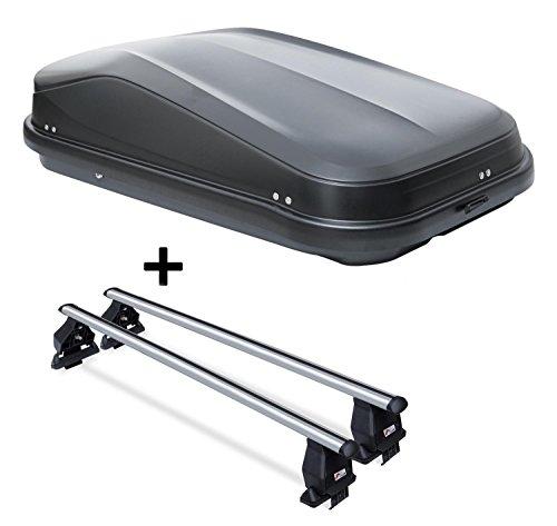 VDP Coffre de Toit jueasy320 320ltr Noir Brillant verrouillable + Barres de Toit Menabo Tema pour Hyundai Tucson TL (5 Portes) à partir de 2015 Aluminium