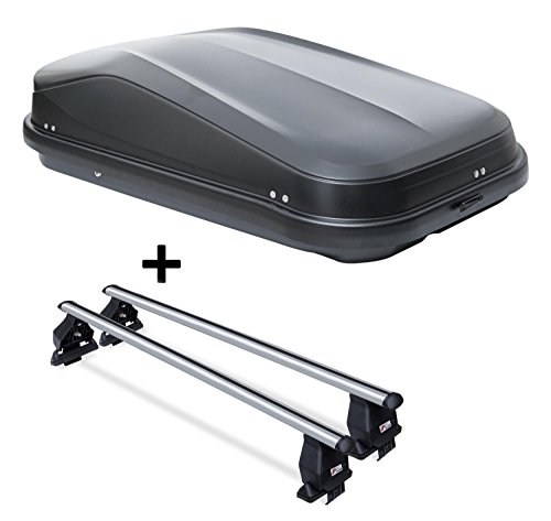 VDP Dachbox JUEASY320 320Ltr schwarz glänzend abschließbar + Dachträger Menabo TEMA für Smart Forfour (W453 5 Türer) ab 2014 Aluminium