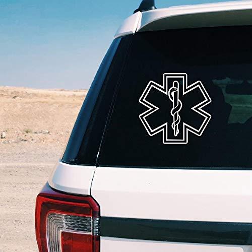 PMSMT Stern des Lebens Zeichen Vinyl Aufkleber Krankenwagen Auto Fenster Dekor, Stern mit Schlange und Personal Medical Aufkleber für Laptop Dekoration