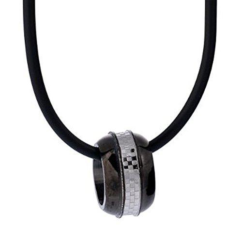 DonDon Collar de Caucho con Colgante de Anillo de Acero Inoxidable en Bolsa de Terciopelo de Color Negro