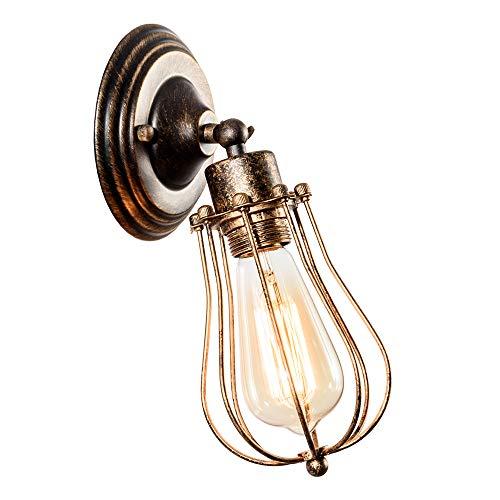 Industriale Applique da parete Vintage illuminazione regolabile Sconce Rustic Wire Metal Cage Light Shade Edison Style (senza lampadina) (colore Bronzo)