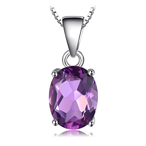 JewelryPalace Oval 1.7ct Natürliche purpurrote Amethyst Birthstone Solitaire Anhänger Halskette Solid 925 Sterling Silber 45 Cm box kette