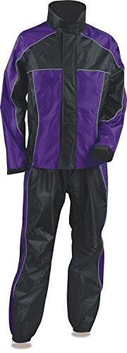 Nexgen LADIES MOTORCYCLE RIDING RAIN SUIT RAIN GEAR PURPL/BLACK WATERPROOF LIGHTWEIGHT (L Regular)