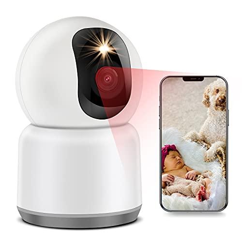 Cámara Vigilancia WiFi Interior Cámara Vigilancia Bebé 1440P Full HD 4MP, 5/2.4GHz Dual Banda, Visión Nocturna en Color, 3X Zoom, Detección de Movimiento Humano, Audio Bidireccional, Color Blanco