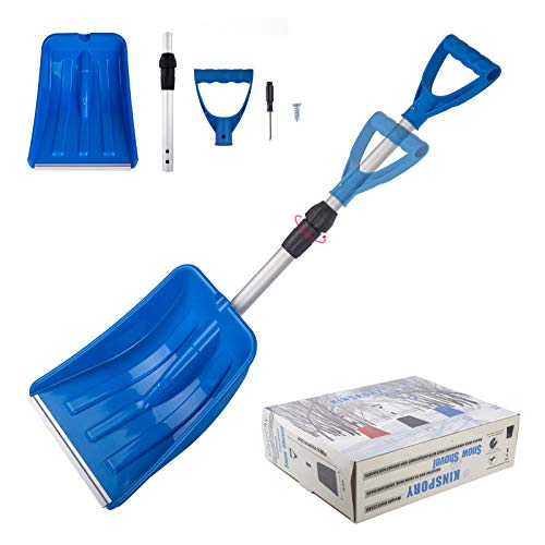 KINSPORY Portable Extendable Emergency Snow Shovel Adjustable Handle Heavy Duty Aluminum Shaft for Car SnowRemoval Garbage Wipe Out Shovel Soil Blue