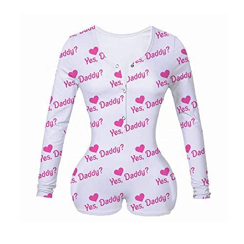 Mujer Pijama de Una Pieza Mono de Manga Larga Ropa de Dormir Pelele de Mameluco con Botones y Cuello en V para Chica Adolescente (A, S)