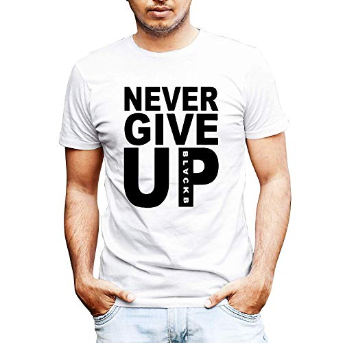 Never Give Up Mohamed Salah Style Liverpool Supporter T-Shirt Camiseta (M, Blanco)